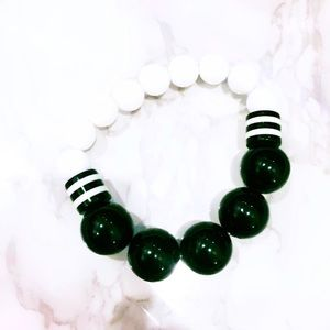 Black and White Beaded Stretch Bracelet